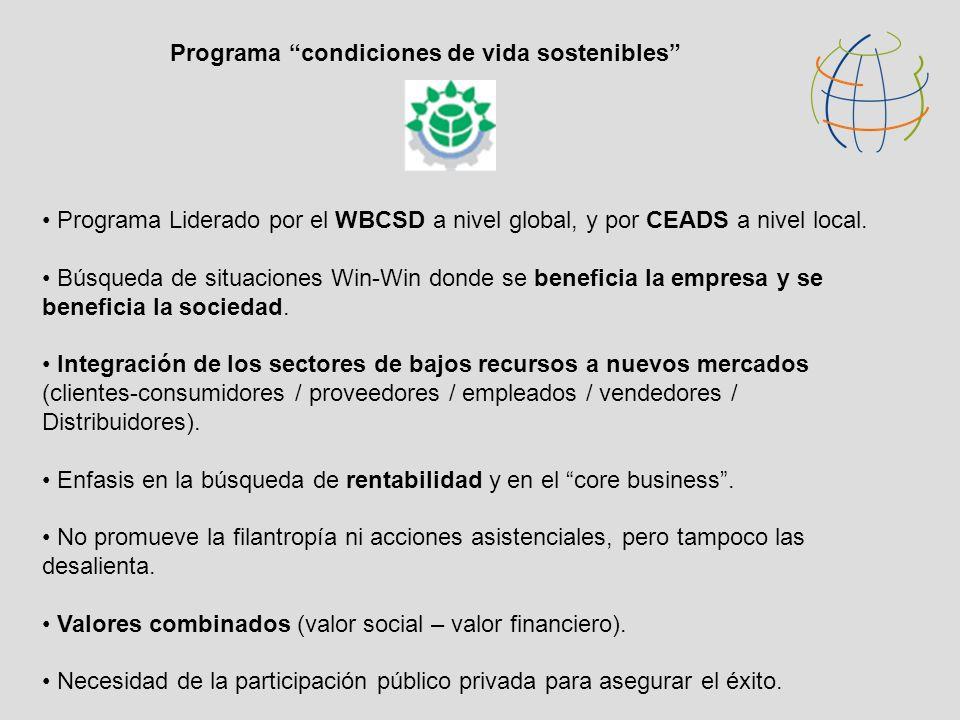 Programa Liderado por el WBCSD a nivel global, y por CEADS a nivel local. Búsqueda de situaciones Win-Win donde se beneficia la empresa y se beneficia
