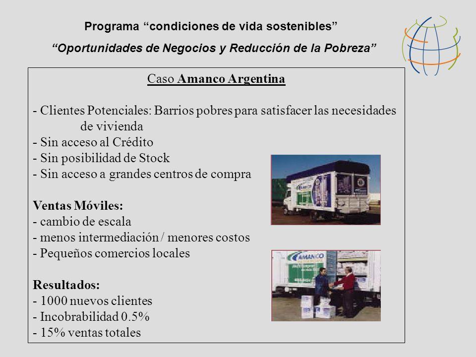Oportunidades de Negocios y Reducción de la Pobreza Programa condiciones de vida sostenibles Caso Amanco Argentina - Clientes Potenciales: Barrios pobres para satisfacer las necesidades de vivienda - Sin acceso al Crédito - Sin posibilidad de Stock - Sin acceso a grandes centros de compra Ventas Móviles: - cambio de escala - menos intermediación / menores costos - Pequeños comercios locales Resultados: - 1000 nuevos clientes - Incobrabilidad 0.5% - 15% ventas totales