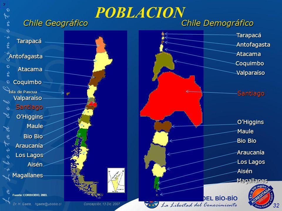Dr. H. Gaete, hgaete@ubiobio.clConcepción, 13 Dic. 2007 32 POBLACION Chile Geográfico Tarapacá Antofagasta Atacama Coquimbo Valparaíso OHiggins Maule