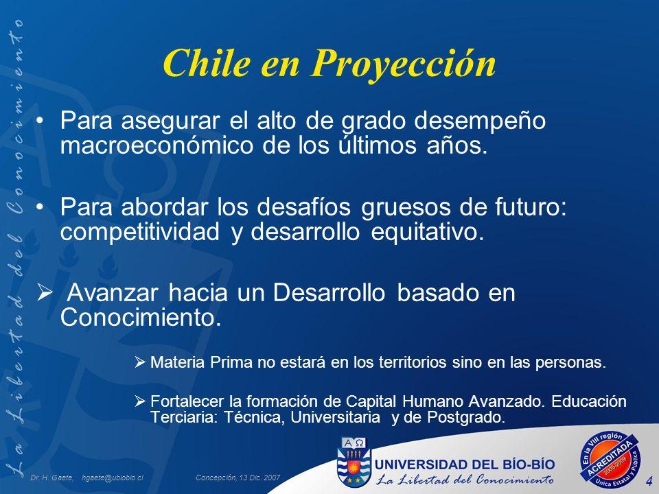 Dr. H. Gaete, hgaete@ubiobio.clConcepción, 13 Dic. 2007 4 Chile en Proyección Para asegurar el alto de grado desempeño macroeconómico de los últimos a