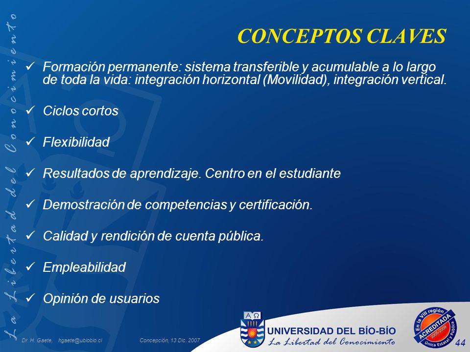 Dr. H. Gaete, hgaete@ubiobio.clConcepción, 13 Dic. 2007 44 CONCEPTOS CLAVES Formación permanente: sistema transferible y acumulable a lo largo de toda