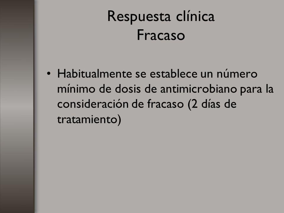 Respuesta clínica Fracaso Habitualmente se establece un número mínimo de dosis de antimicrobiano para la consideración de fracaso (2 días de tratamien