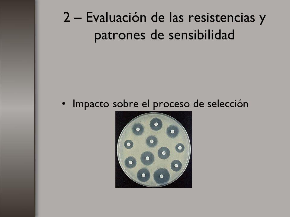 2 – Evaluación de las resistencias y patrones de sensibilidad Impacto sobre el proceso de selección