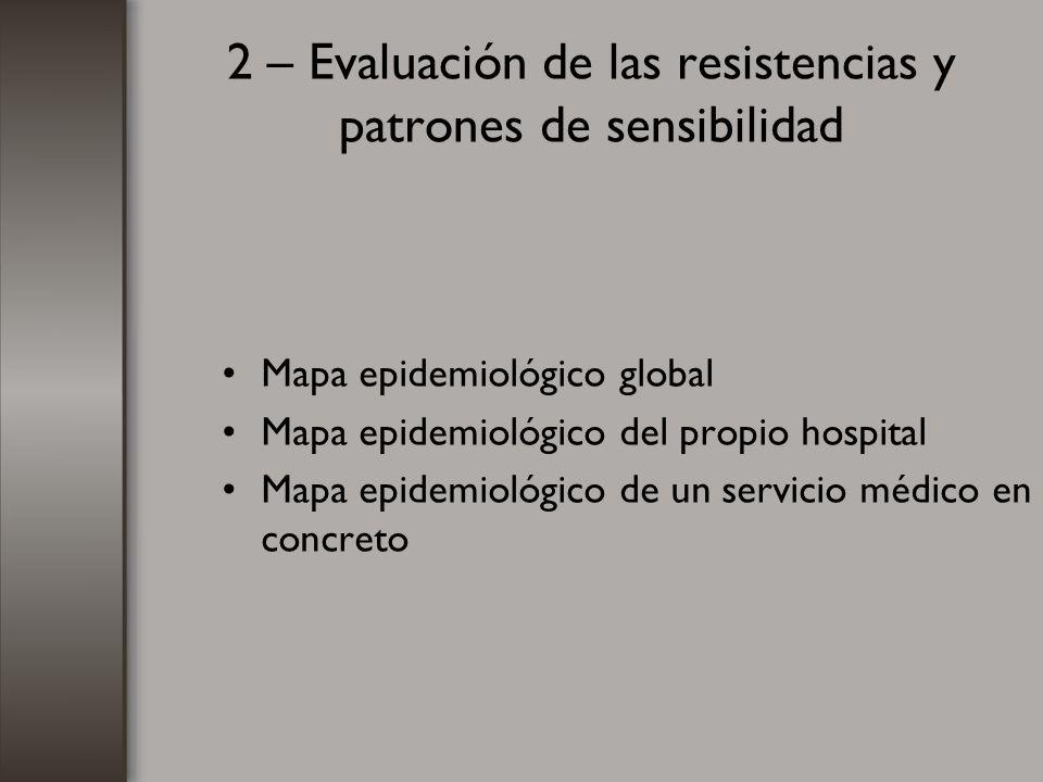 2 – Evaluación de las resistencias y patrones de sensibilidad Mapa epidemiológico global Mapa epidemiológico del propio hospital Mapa epidemiológico d