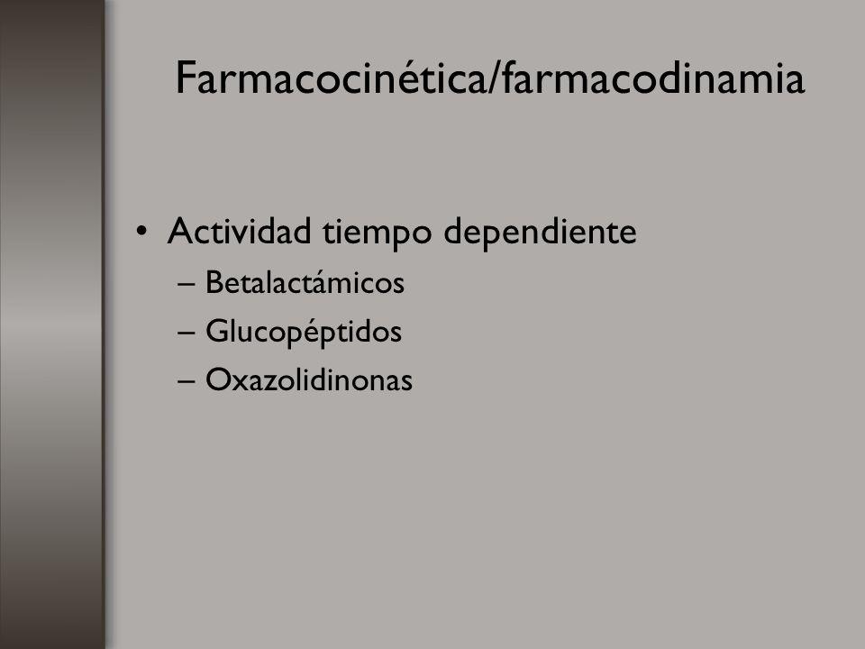 Farmacocinética/farmacodinamia Actividad tiempo dependiente –Betalactámicos –Glucopéptidos –Oxazolidinonas