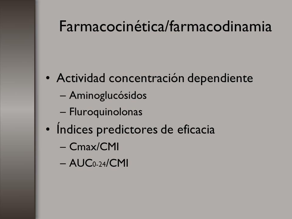 Farmacocinética/farmacodinamia Actividad concentración dependiente –Aminoglucósidos –Fluroquinolonas Índices predictores de eficacia –Cmax/CMI –AUC 0-