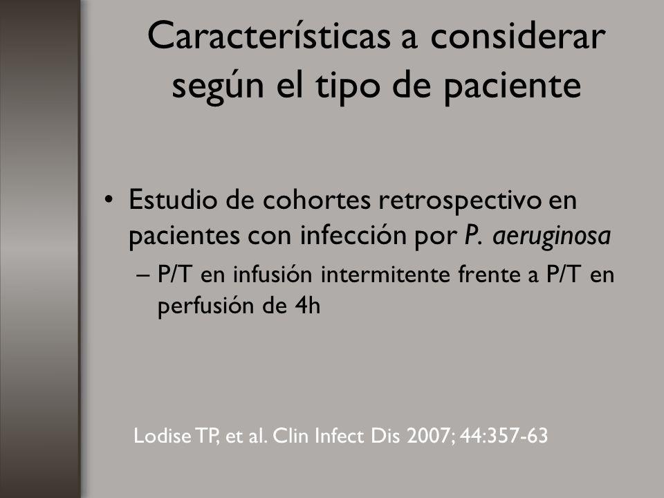 Características a considerar según el tipo de paciente Estudio de cohortes retrospectivo en pacientes con infección por P. aeruginosa –P/T en infusión