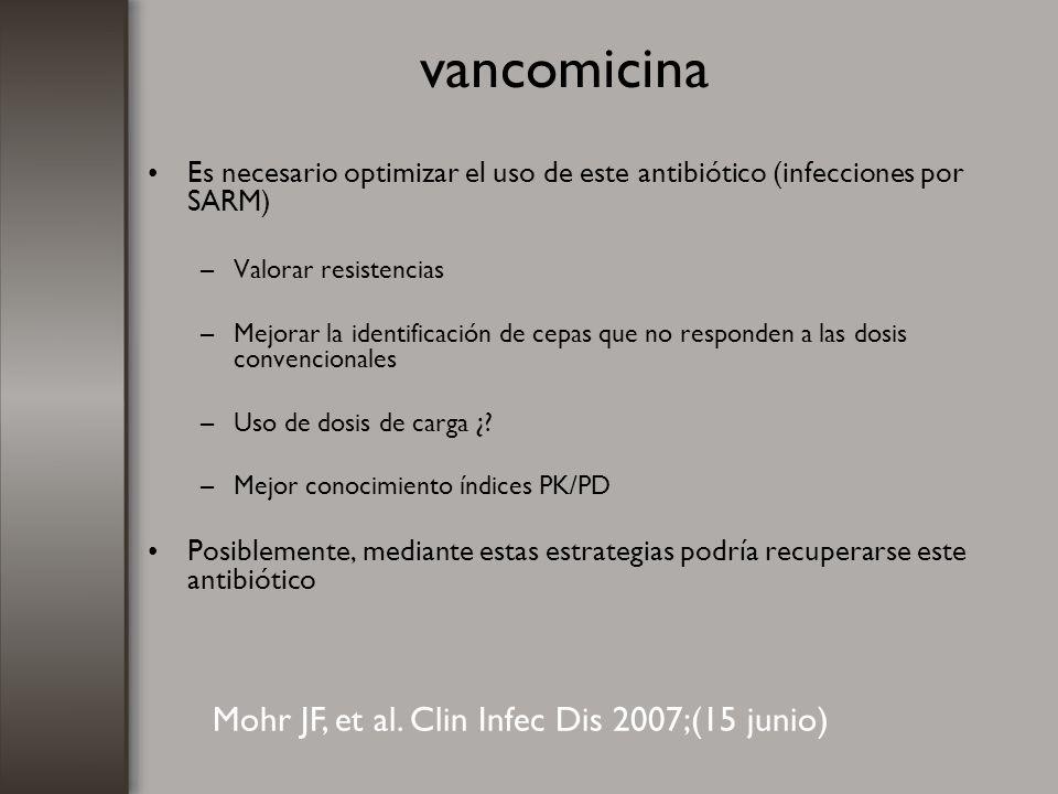vancomicina Es necesario optimizar el uso de este antibiótico (infecciones por SARM) –Valorar resistencias –Mejorar la identificación de cepas que no
