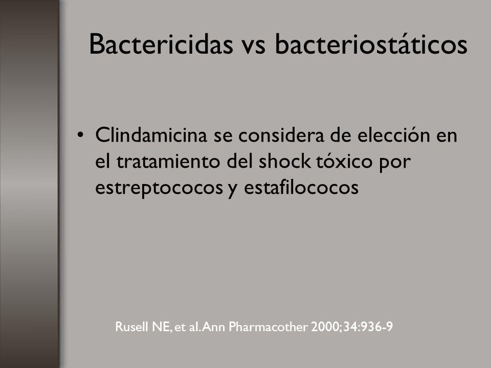 Bactericidas vs bacteriostáticos Clindamicina se considera de elección en el tratamiento del shock tóxico por estreptococos y estafilococos Rusell NE,