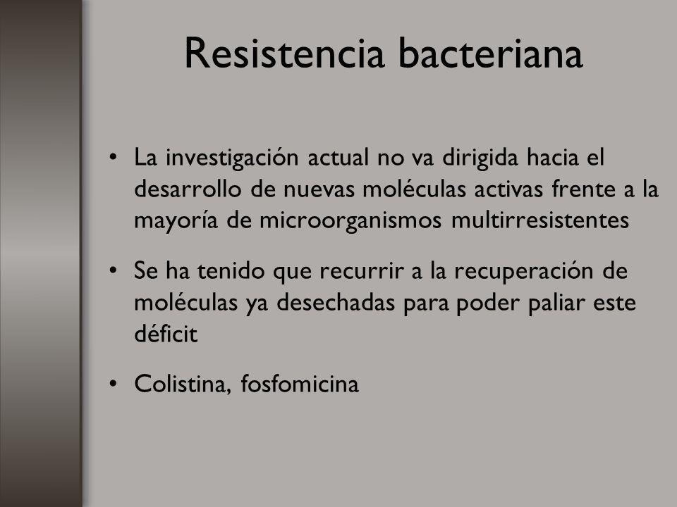 Resistencia bacteriana La investigación actual no va dirigida hacia el desarrollo de nuevas moléculas activas frente a la mayoría de microorganismos m