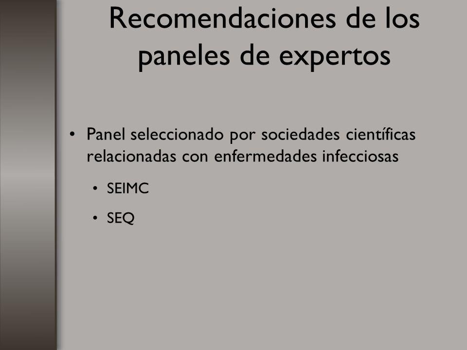 Recomendaciones de los paneles de expertos Panel seleccionado por sociedades científicas relacionadas con enfermedades infecciosas SEIMC SEQ