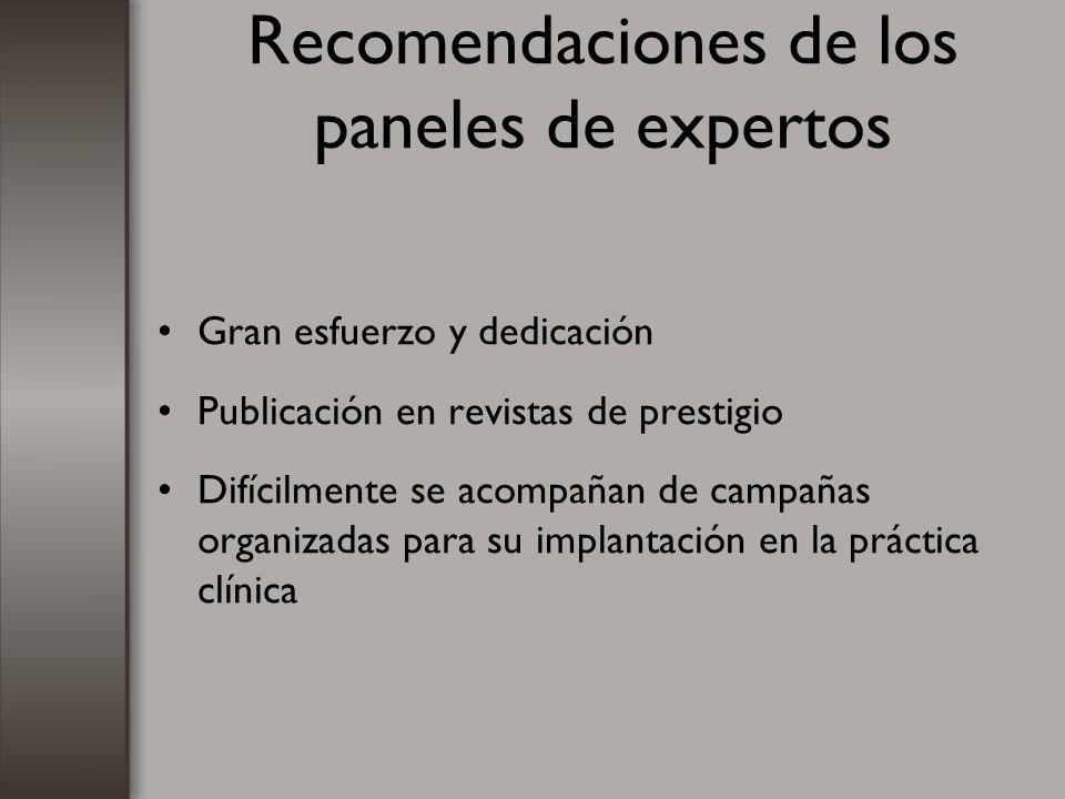 Recomendaciones de los paneles de expertos Gran esfuerzo y dedicación Publicación en revistas de prestigio Difícilmente se acompañan de campañas organ