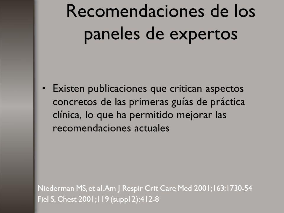 Recomendaciones de los paneles de expertos Existen publicaciones que critican aspectos concretos de las primeras guías de práctica clínica, lo que ha