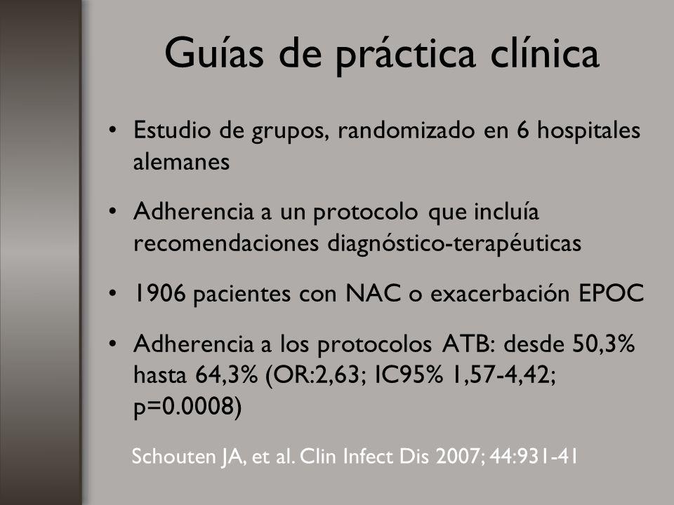 Guías de práctica clínica Estudio de grupos, randomizado en 6 hospitales alemanes Adherencia a un protocolo que incluía recomendaciones diagnóstico-te