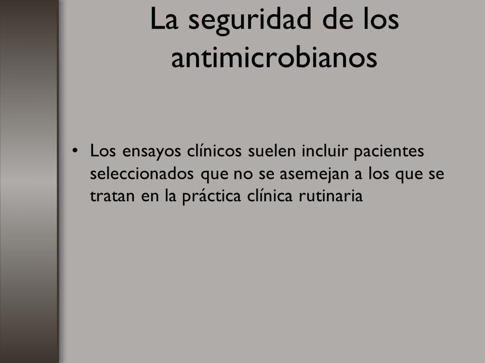 La seguridad de los antimicrobianos Los ensayos clínicos suelen incluir pacientes seleccionados que no se asemejan a los que se tratan en la práctica