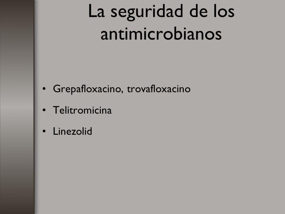 La seguridad de los antimicrobianos Grepafloxacino, trovafloxacino Telitromicina Linezolid