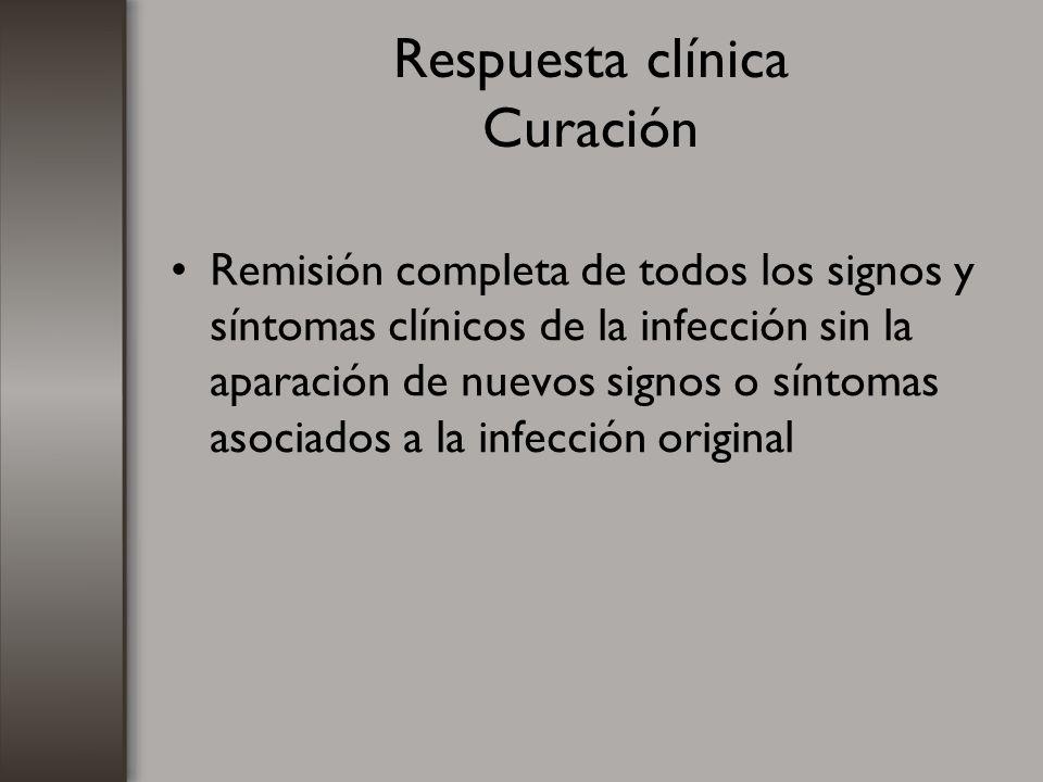 Respuesta clínica Curación Remisión completa de todos los signos y síntomas clínicos de la infección sin la aparación de nuevos signos o síntomas asoc