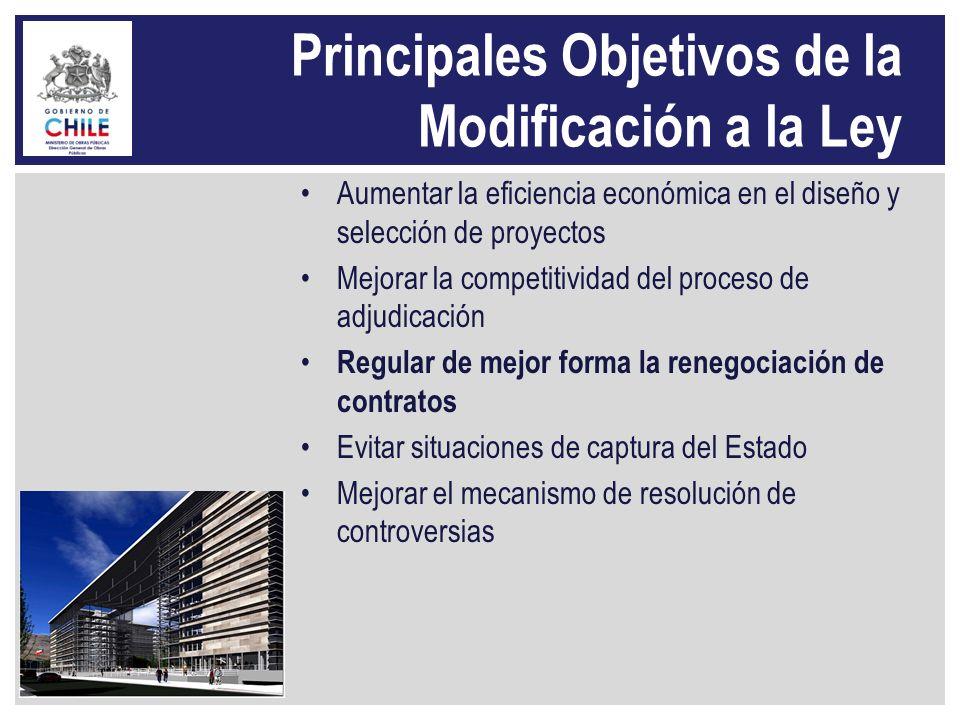 Principales Objetivos de la Modificación a la Ley Aumentar la eficiencia económica en el diseño y selección de proyectos Mejorar la competitividad del