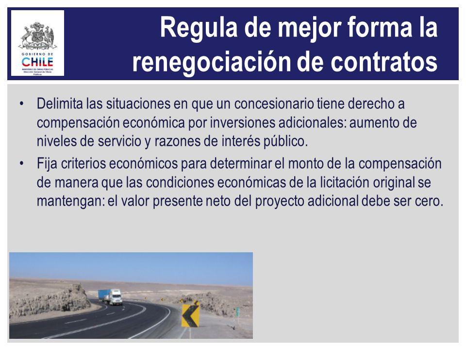 Regula de mejor forma la renegociación de contratos Delimita las situaciones en que un concesionario tiene derecho a compensación económica por invers