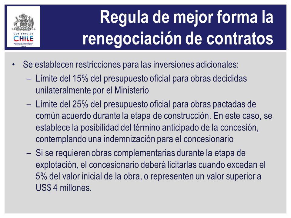Regula de mejor forma la renegociación de contratos Se establecen restricciones para las inversiones adicionales: –Límite del 15% del presupuesto ofic