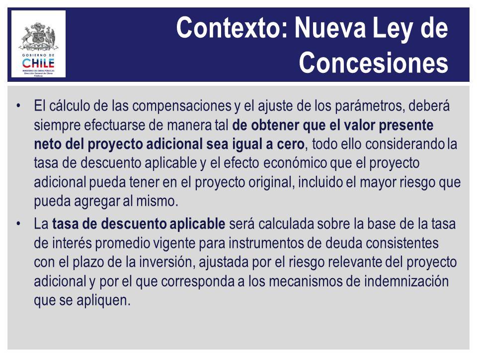 Contexto: Nueva Ley de Concesiones El cálculo de las compensaciones y el ajuste de los parámetros, deberá siempre efectuarse de manera tal de obtener