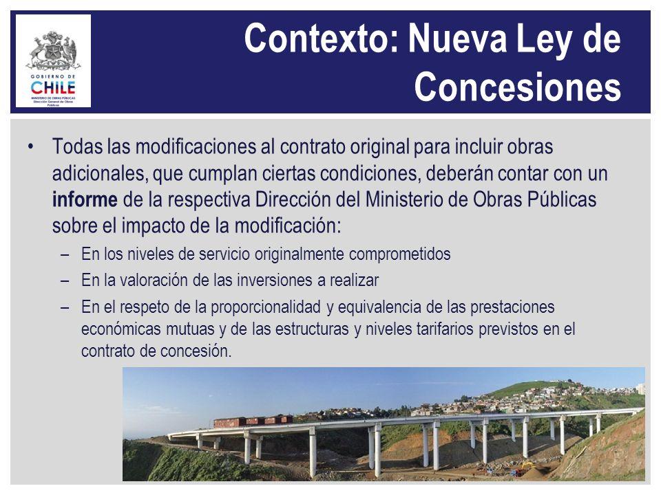 Contexto: Nueva Ley de Concesiones Todas las modificaciones al contrato original para incluir obras adicionales, que cumplan ciertas condiciones, debe