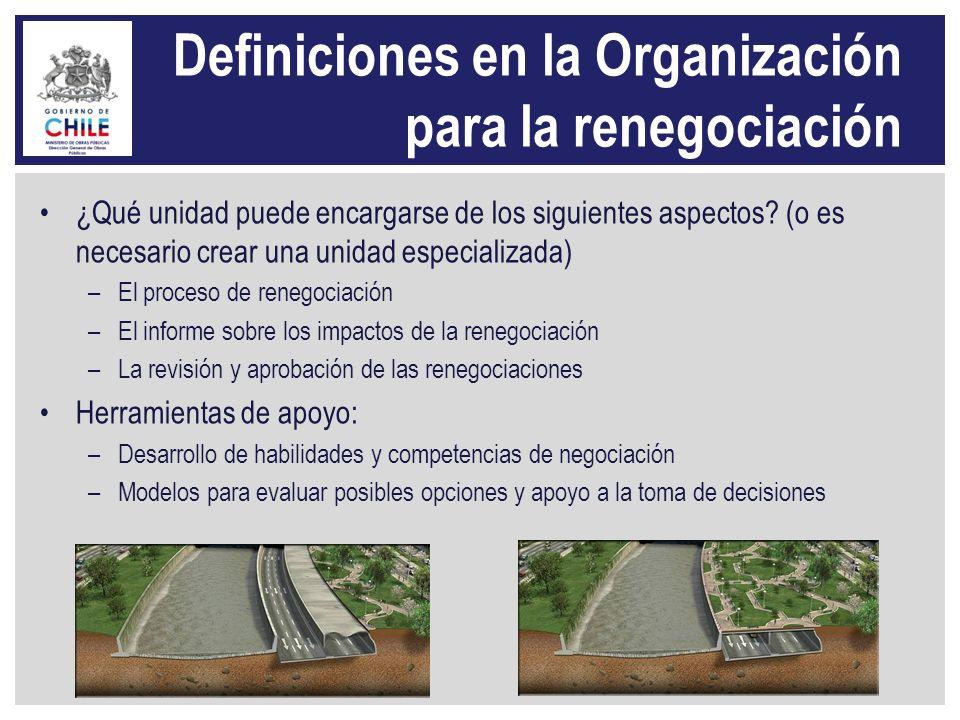 Definiciones en la Organización para la renegociación ¿Qué unidad puede encargarse de los siguientes aspectos? (o es necesario crear una unidad especi