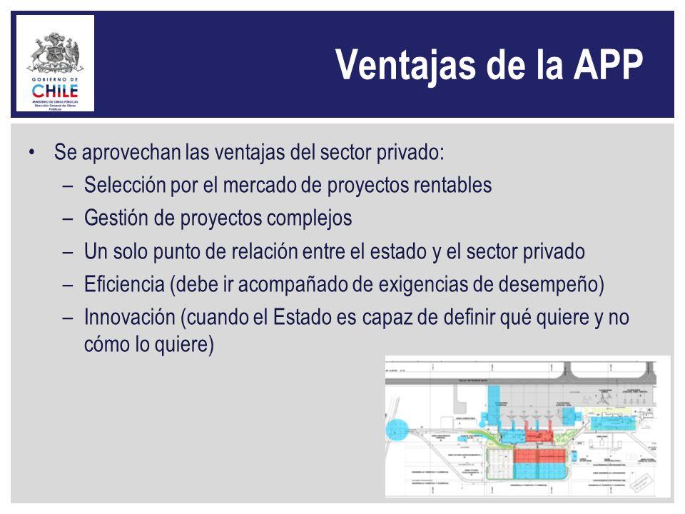 Ventajas de la APP Se aprovechan las ventajas del sector privado: –Selección por el mercado de proyectos rentables –Gestión de proyectos complejos –Un