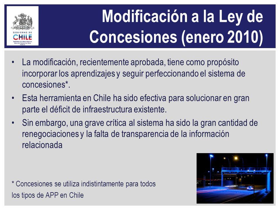 Modificación a la Ley de Concesiones (enero 2010) La modificación, recientemente aprobada, tiene como propósito incorporar los aprendizajes y seguir p