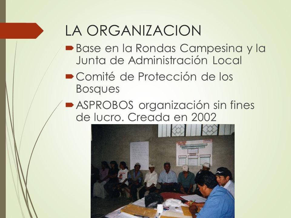 LA ORGANIZACION Base en la Rondas Campesina y la Junta de Administración Local Comité de Protección de los Bosques ASPROBOS organización sin fines de lucro.