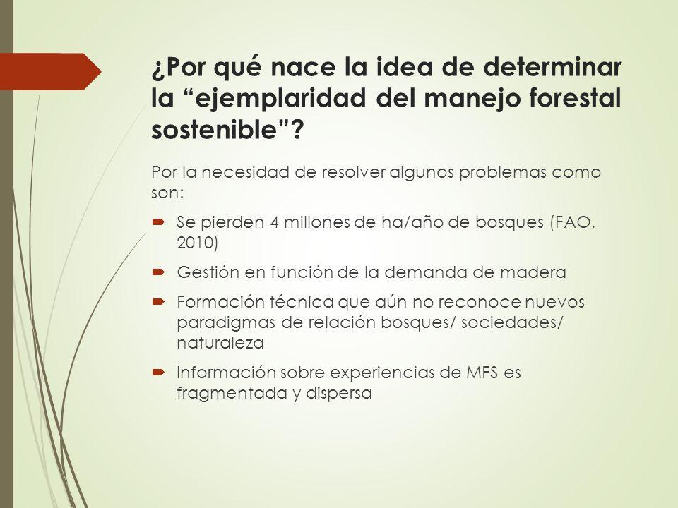 ¿Por qué nace la idea de determinar la ejemplaridad del manejo forestal sostenible? Por la necesidad de resolver algunos problemas como son: Se pierde