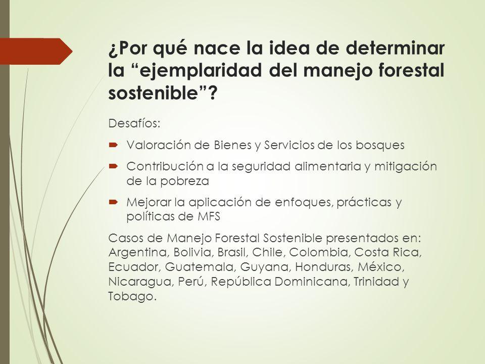 ¿Por qué nace la idea de determinar la ejemplaridad del manejo forestal sostenible? Desafíos: Valoración de Bienes y Servicios de los bosques Contribu