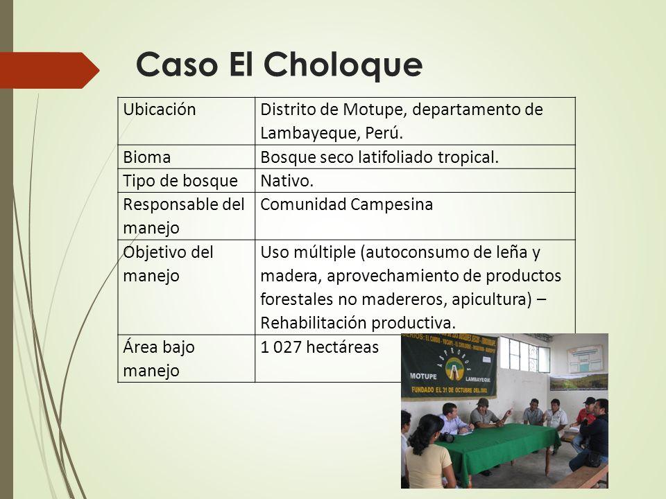 Ubicación Distrito de Motupe, departamento de Lambayeque, Perú. BiomaBosque seco latifoliado tropical. Tipo de bosqueNativo. Responsable del manejo Co
