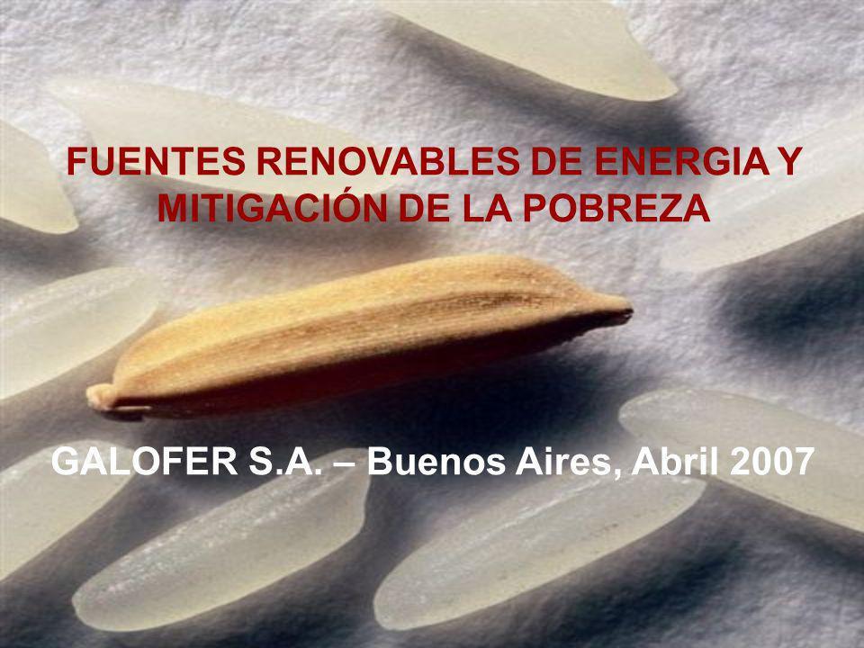 FUENTES RENOVABLES DE ENERGIA Y MITIGACIÓN DE LA POBREZA GALOFER S.A. – Buenos Aires, Abril 2007