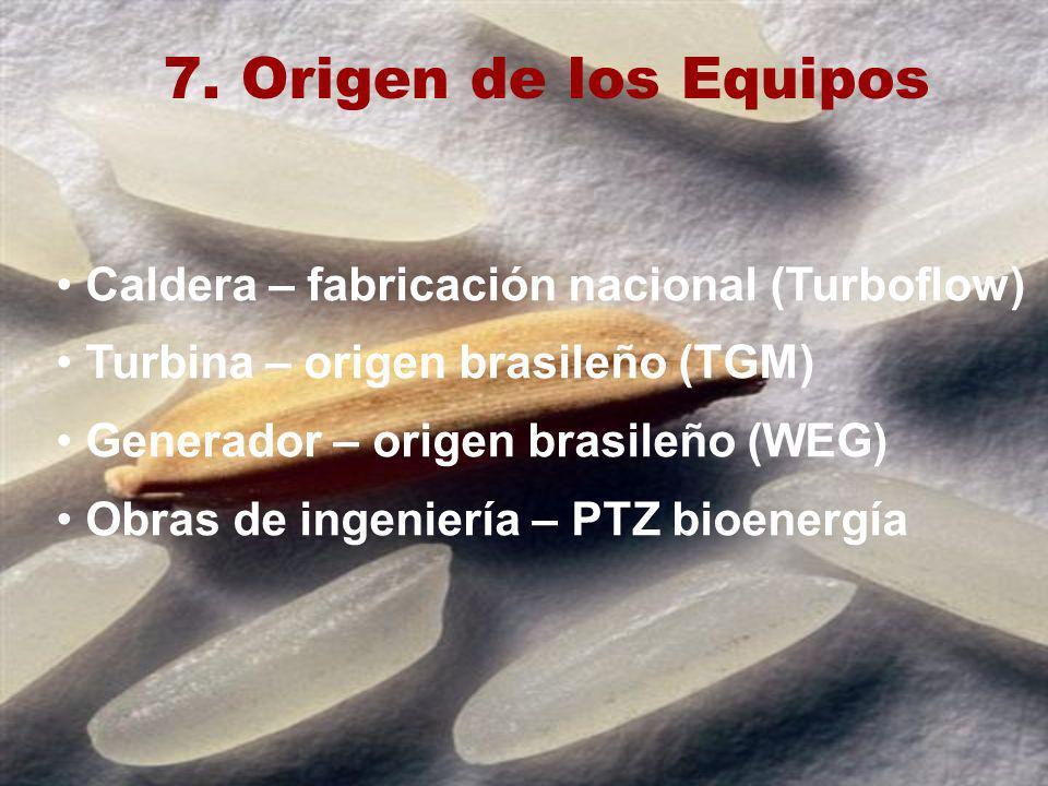 7. Origen de los Equipos Caldera – fabricación nacional (Turboflow) Turbina – origen brasileño (TGM) Generador – origen brasileño (WEG) Obras de ingen