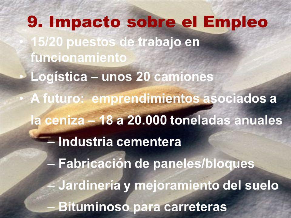 9. Impacto sobre el Empleo 15/20 puestos de trabajo en funcionamiento Logística – unos 20 camiones A futuro: emprendimientos asociados a la ceniza – 1