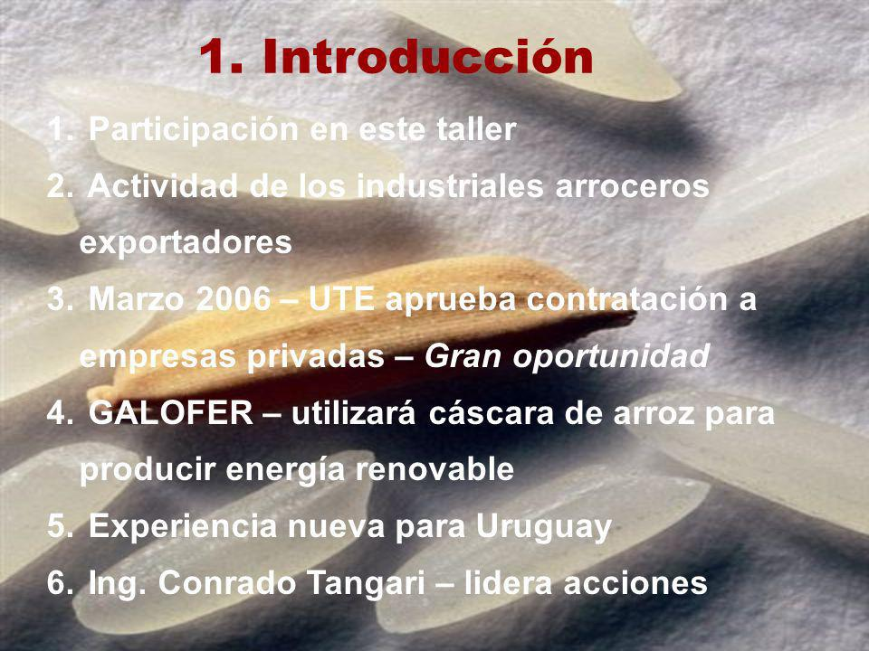 1. Introducción 1. Participación en este taller 2. Actividad de los industriales arroceros exportadores 3. Marzo 2006 – UTE aprueba contratación a emp
