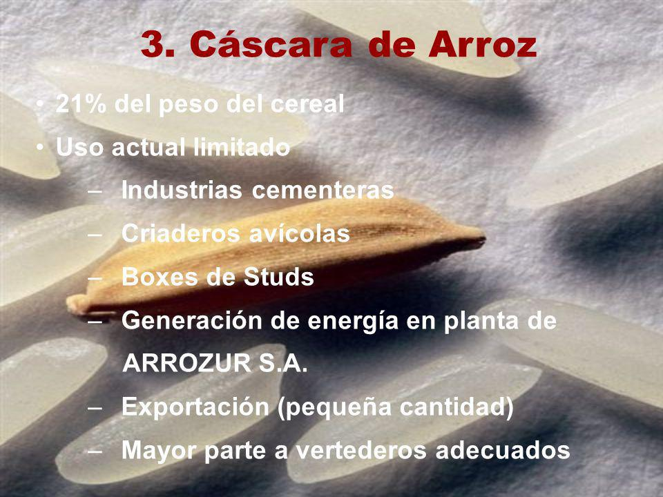 3. Cáscara de Arroz 21% del peso del cereal Uso actual limitado –Industrias cementeras –Criaderos avícolas –Boxes de Studs –Generación de energía en p