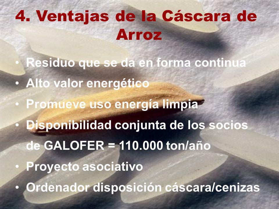 4. Ventajas de la Cáscara de Arroz Residuo que se da en forma continua Alto valor energético Promueve uso energía limpia Disponibilidad conjunta de lo