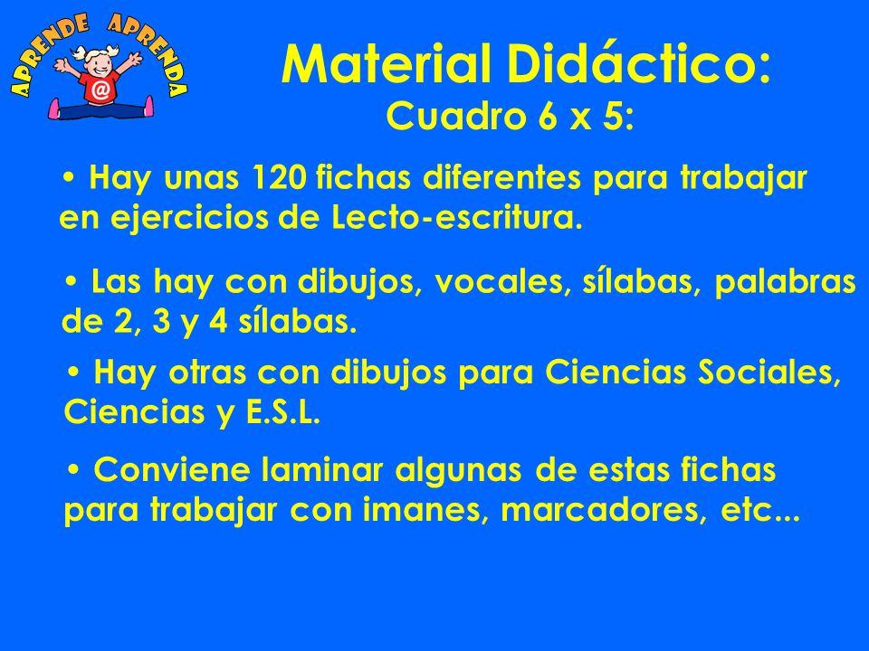 Material Didáctico: Cuadro Vocales Estás fichas se pueden utilizar: Con sílabas magnéticas.