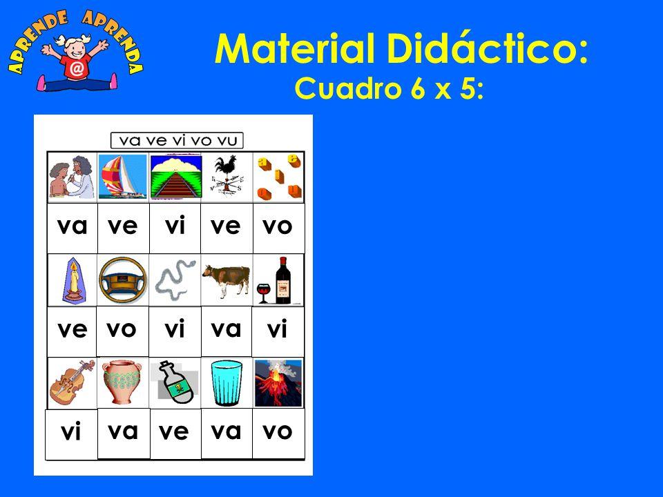 Material Didáctico: Cuadro 6 x 5: va ve vi vo vu va