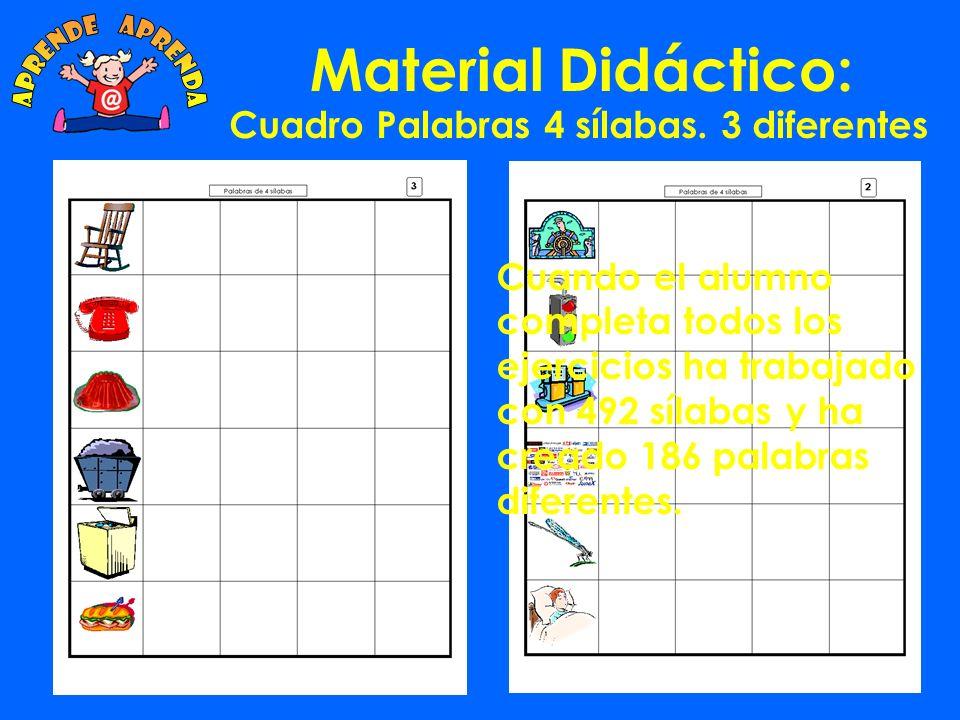 Material Didáctico: Cuadro Palabras 3 sílabas. 14 diferentes