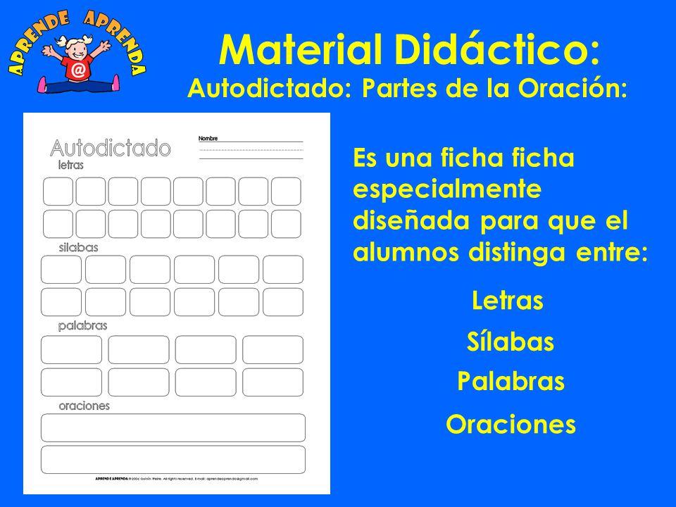 Material Didáctico: Cuando el alumno completa todos los ejercicios ha trabajado con 492 sílabas y ha creado 186 palabras diferentes.