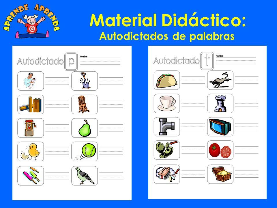 Material Didáctico: Autodictado Abecedario: El alumno debe escribir una palabra con cada una de las letras del abecedario.