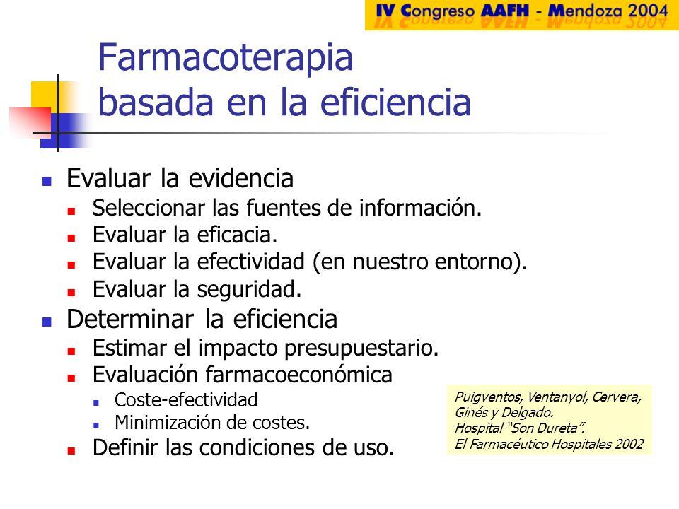 Farmacoterapia basada en la eficiencia Evaluar la evidencia Seleccionar las fuentes de información. Evaluar la eficacia. Evaluar la efectividad (en nu