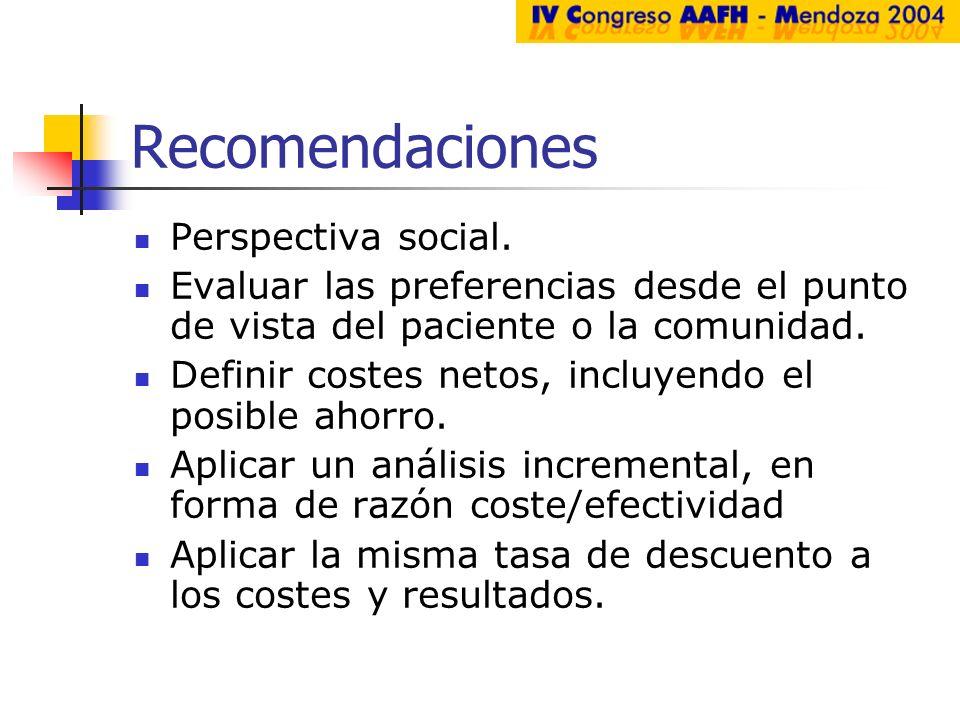 Recomendaciones Perspectiva social. Evaluar las preferencias desde el punto de vista del paciente o la comunidad. Definir costes netos, incluyendo el