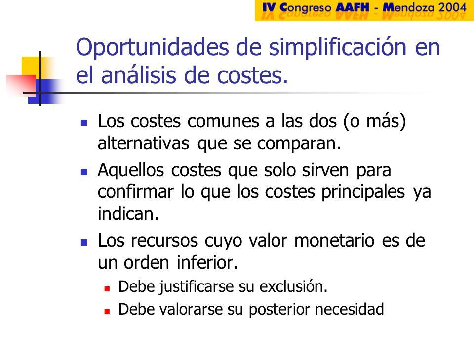Oportunidades de simplificación en el análisis de costes. Los costes comunes a las dos (o más) alternativas que se comparan. Aquellos costes que solo