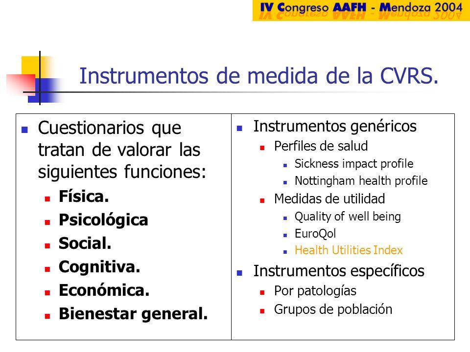 Instrumentos de medida de la CVRS. Cuestionarios que tratan de valorar las siguientes funciones: Física. Psicológica Social. Cognitiva. Económica. Bie