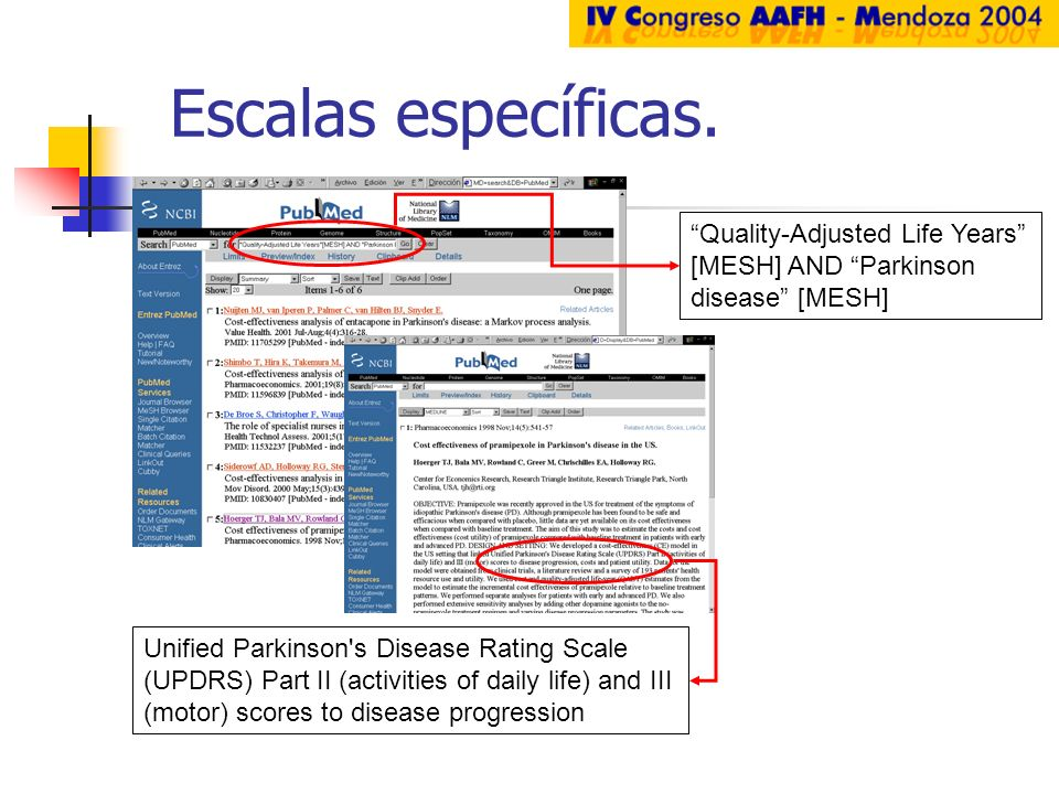 Escalas específicas. Quality-Adjusted Life Years [MESH] AND Parkinson disease [MESH] Unified Parkinson's Disease Rating Scale (UPDRS) Part II (activit