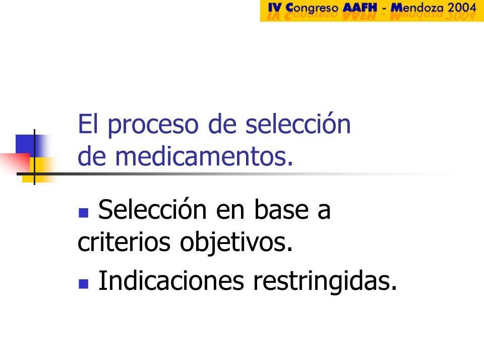 El proceso de selección de medicamentos. Selección en base a criterios objetivos. Indicaciones restringidas.